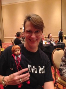 Me at Modern Doll 2014 with an adorable Diana Effner doll I bought in the salesroom.
