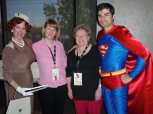My mother and I pose at Tonner Con with Lois Lane and (an apparently dieting) Superman