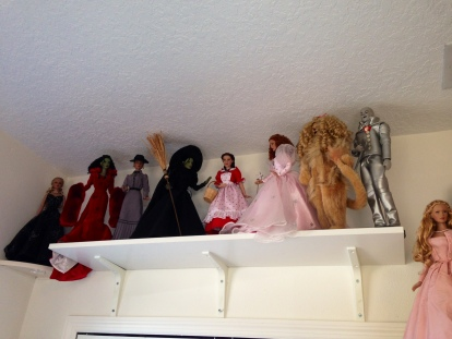 The shelf over the closet makes a great space for Dorothy and her friends.