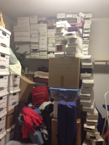 Towers of boxes in the garage